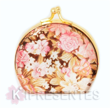 Picture of Mini Porta jóias espelho bolso Floral Rosa