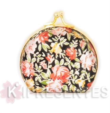 Picture of Mini Porta jóias Espelho Bolso Preto Floral