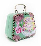 Picture of Latinha Bolsa Feminina verdes flores rosa