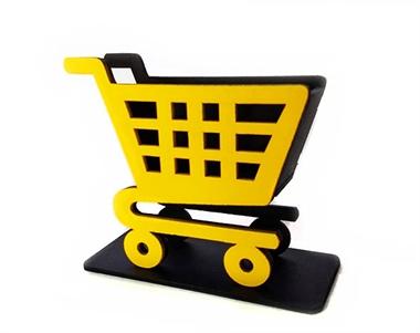 Picture of Mini Carrinho de Compras Supermercado Mdf Amarelo